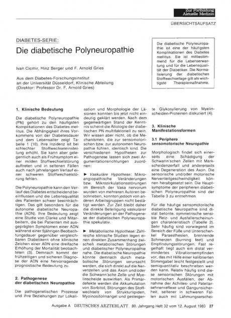 Die diabetische Polyneuropathie