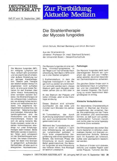 Die Strahlentherapie der Mycosis fungoides