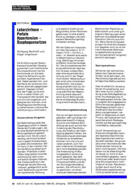 Leberzirrhose — Portale Hypertension —...
