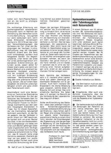 Hysterektomiesektio oder Tubenkoagulation nach...