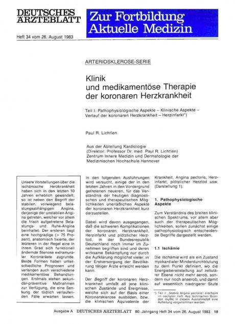 Klinik und medikamentöse Therapie der koronaren...