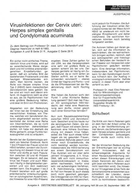 Virusinfektionen der Cervix uteri