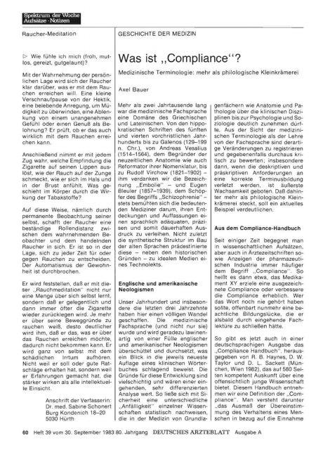 """Was ist """"Compliance""""? - Medizinische Terminologie"""