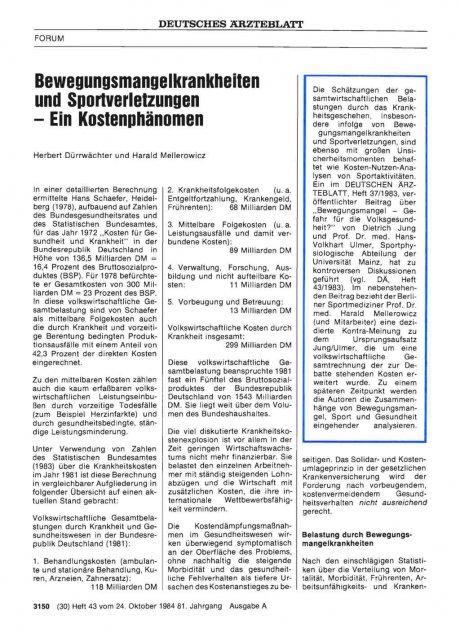 Bewegungsmangelkrankheiten und Sportverletzungen -...
