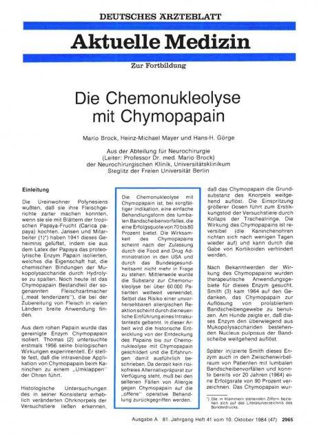 Die Chemonukleolyse mit Chymopapain