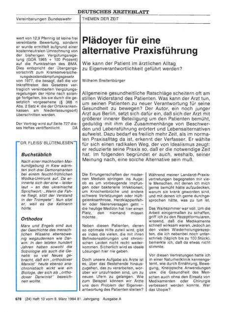 Plädoyer für eine alternative Praxisführung