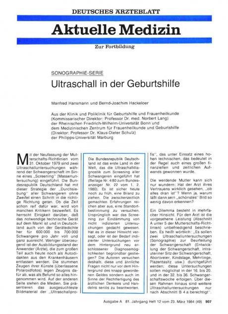 Ultraschall in der Geburtshilfe