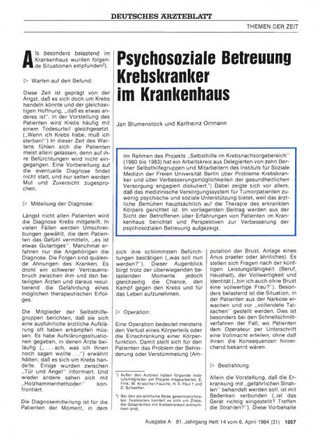 Psychosoziale Betreuung Krebskranker im...