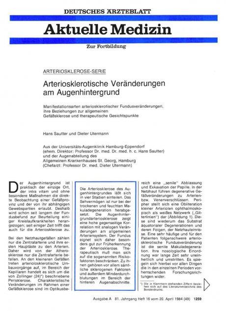 Arteriosklerotische Veränderungen am...