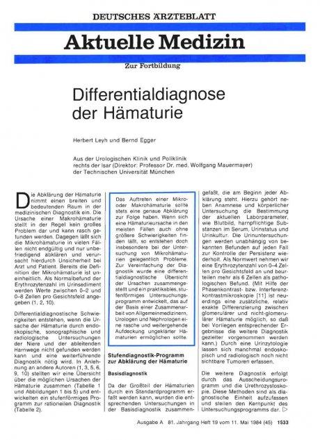 Differentialdiagnose der Hämaturie