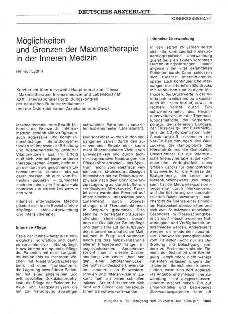Möglichkeiten und Grenzen der Maximaltherapie in...