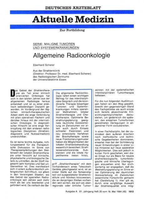 Allgemeine Radioonkologie