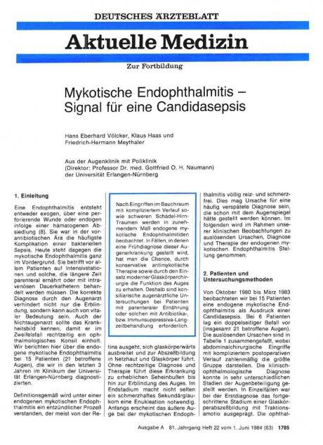 Mykotische Endophthalmitis — Signal für eine...