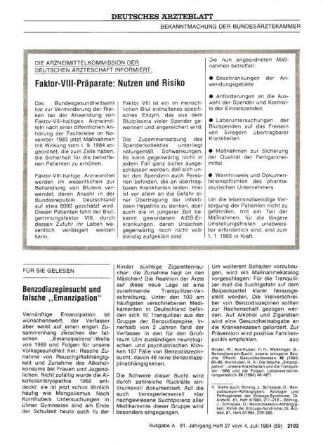 """Benzodiazepinsucht und falsche """"Emanzipation"""""""