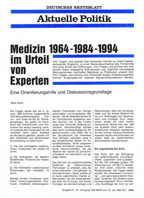 Medizin 1964-1984-1994 im Urteil von Experten
