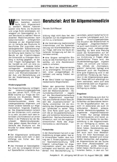 Berufsziel: Arzt für Allgemeinmedizin