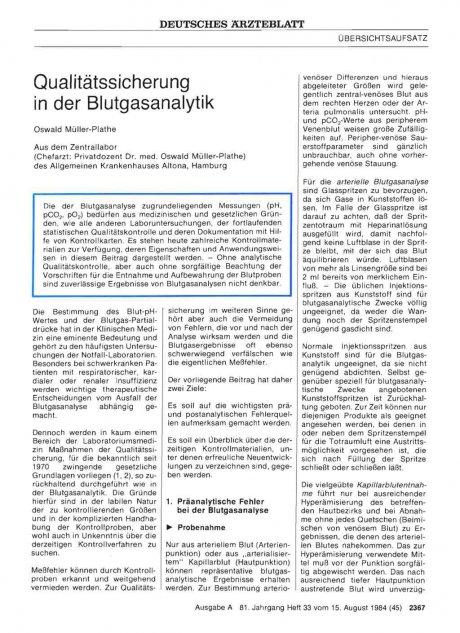 Qualitätssicherung in der Blutgasanalytik
