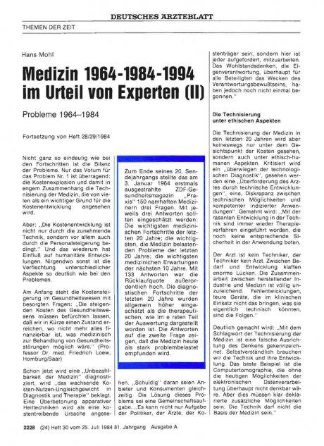 Medizin 1964-1984-1994 im Urteil von Experten (II)