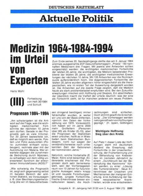 Medizin 1964-1984-1994 im Urteil von Experten...