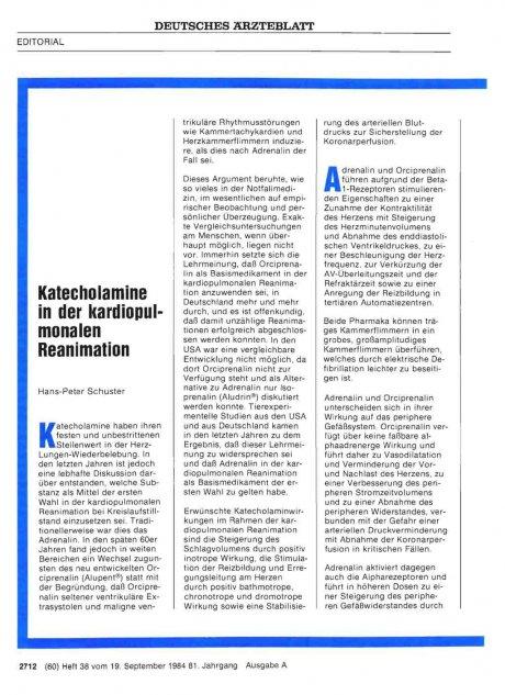 Katecholamine in der kardiopulmonalen Reanimation