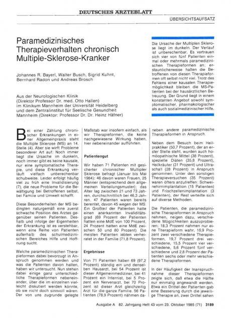 Paramedizinisches Therapieverhalten chronisch...