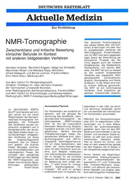 NMR-Tomographie Zwischenbilanz und kritische Bewertung klinischer Befunde im Kontext mit anderen bildgebenden Verfahren