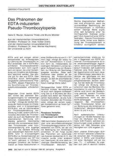 Das Phänomen der EDTA-induzierten Pseudo-Thrombozytopenie