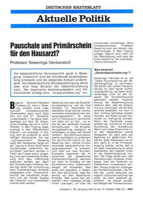 Pauschale und Primärschein für den Hausarzt?: Professor Sewerings Denkanstoß