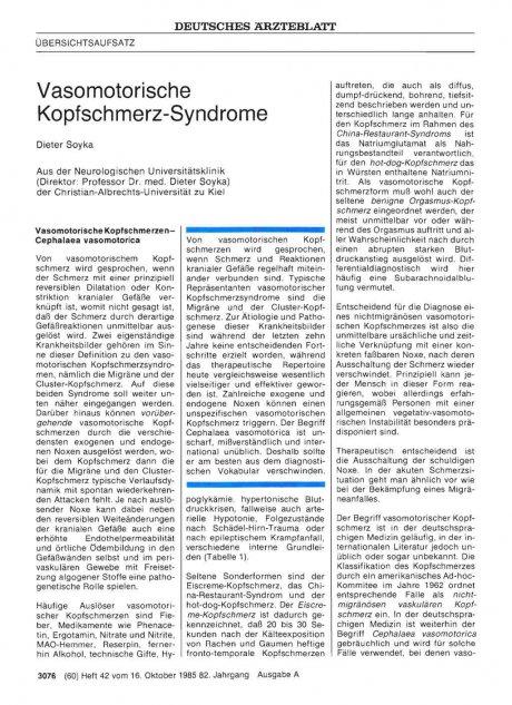 Vasomotorische Kopfschmerz-Syndrome