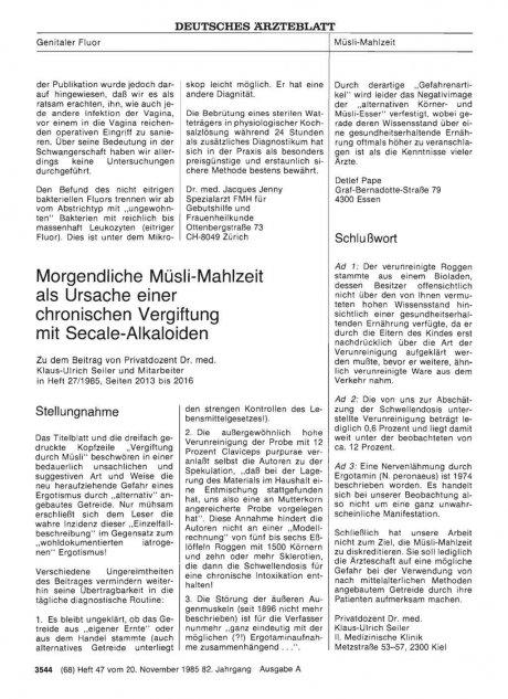 Morgendliche Müsli-Mahlzeit als Ursache einer chronischen Vergiftung mit Secale-Alkaloiden: Stellungnahme