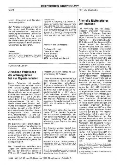 Zirkadiane Variationen der Antikoagulation bei der...