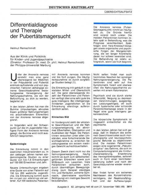 Differentialdiagnose und Therapie der Pubertätsmagersucht