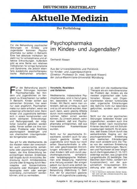 Psychopharmaka im Kindes- und Jugendalter?