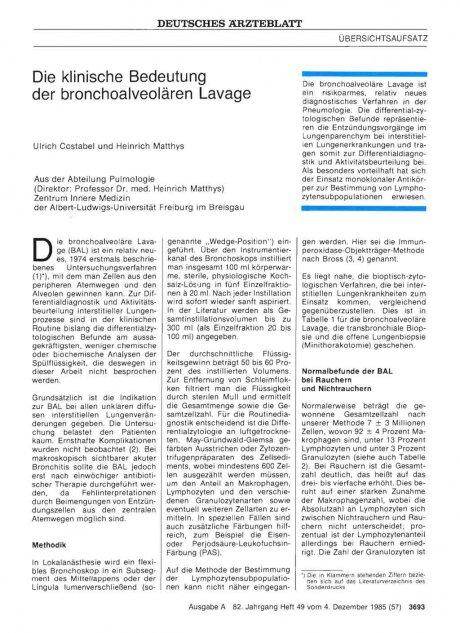 Die klinische Bedeutung der bronchoalveolären Lavage