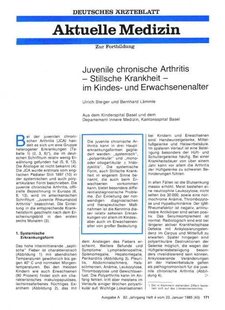 Juvenile chronische Arthritis — Stillsche...