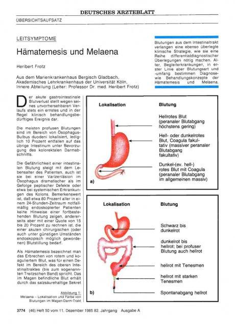 LEITSYMPTOME: Hämatemesis und Melaena