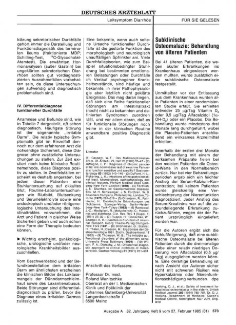 Subklinische Osteomalazie