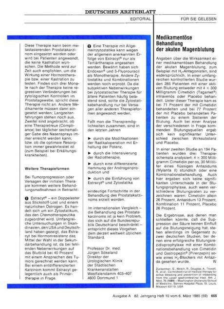 Medikamentöse Behandlung der akuten Magenblutung