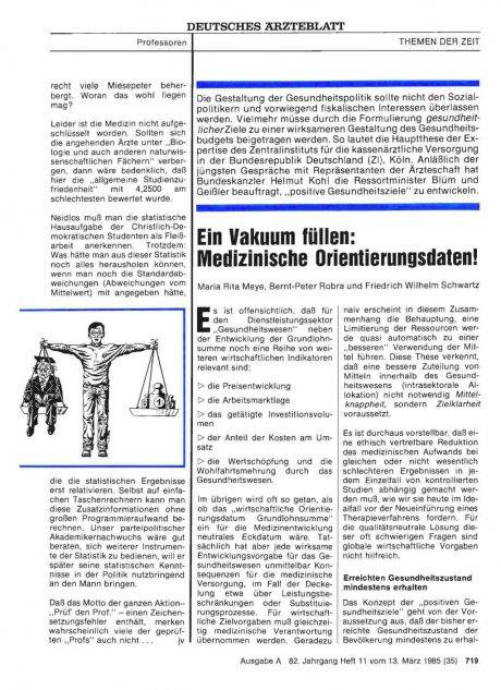 Ein Vakuum füllen: Medizinische Orientierungsdaten!