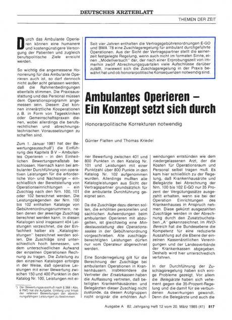 Ambulantes Operieren - Ein Konzept setzt sich...