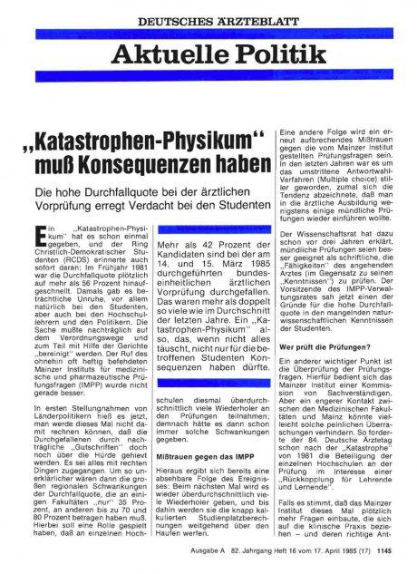 """""""Katastrophen-Physikum"""" muß Konsequenzen haben"""