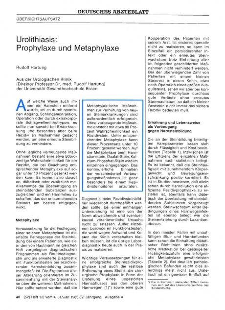 Urolithiasis: Prophylaxe und Metaphylaxe