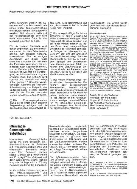 Intravenöse Gammaglobulin- Substitution