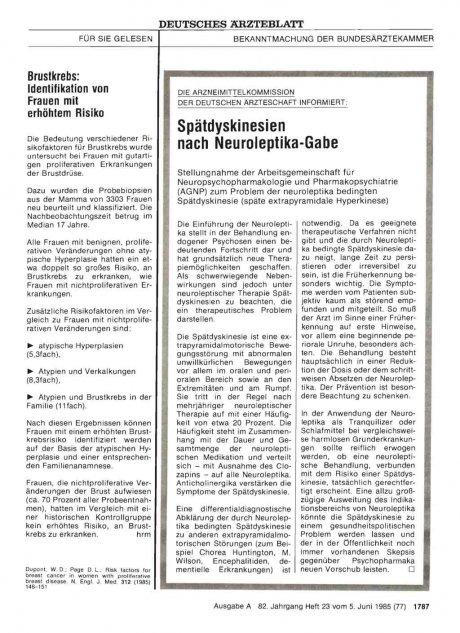 DIE ARZNEIMITTELKOMMISSION DER DEUTSCHEN ÄRZTESCHAFT INFORMIERT: Spätdyskinesien nach Neuroleptika-Gabe
