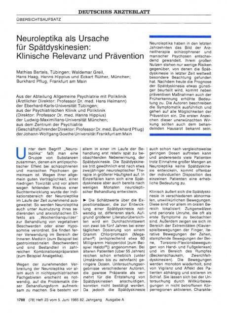 Neuroleptika als Ursache für Spätdyskinesien: Klinische Relevanz und Prävention
