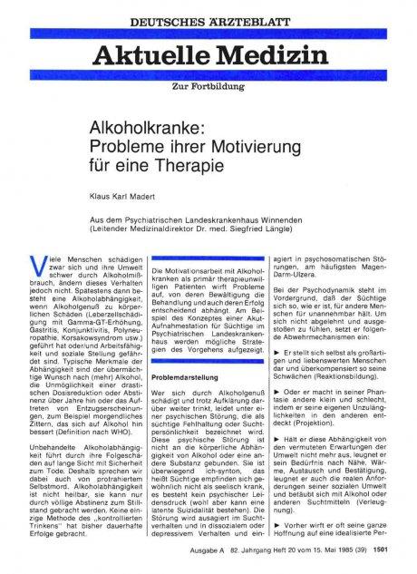 Alkoholkranke: Probleme ihrer Motivierung für eine Therapie