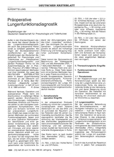 Präoperative Lungenfunktionsdiagnostik
