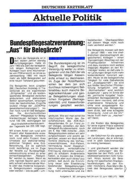 """Bundespflegesatzverordnung: """"Aus"""" für Belegärzte?"""