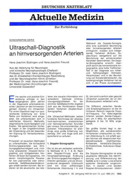 Ultraschall-Diagnostik an hirnversorgenden...