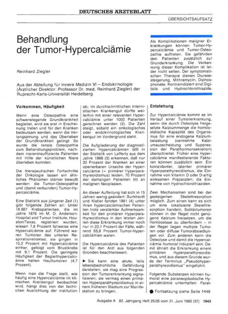 Behandlung der Tumor-Hypercalciämie